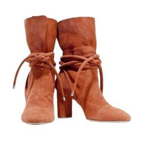 Alexandre Birman Betsy Suede Ankle Boots Wide Heel